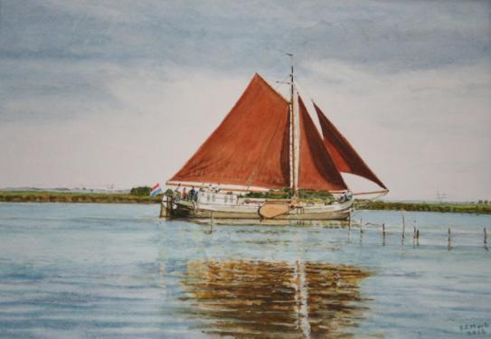 Zeilschip op randmeer van het IJsselmeer